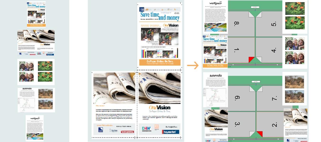 Cut spreads. Proceso. Original, páginas cortadas, imposición final